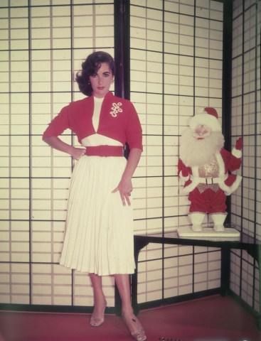 Elizabeth Taylor Beside Santa Claus