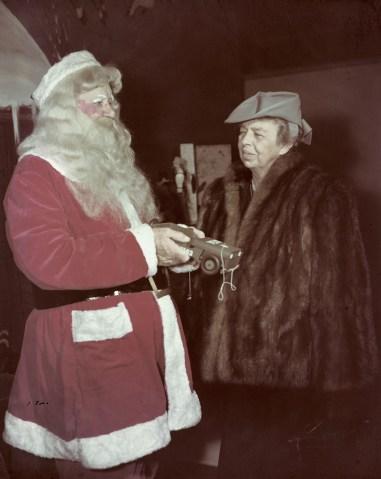 Mrs. Eleanor Roosevelt with Santa Claus