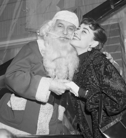Audrey Hepburn Cheek to Cheek with Santa Claus