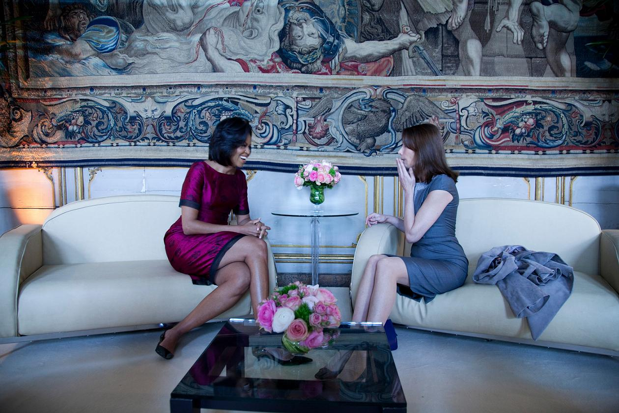 First Lady Michelle Obama meets with Carla Bruni-Sarkozy, wife of French President Sarkozy at the Palais Rohan (Rohan Palace) April 3, 2009, in Strasbourg, France. Official White House Photo by Chuck Kennedy