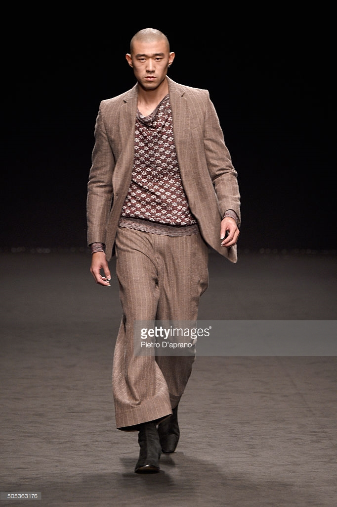 walks the runway at the Vivienne Westwood show during Milan Men's Fashion Week Fall/Winter 2016/17 on January 17, 2016 in Milan, Italy.