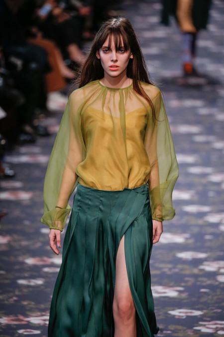 Paris, FR - - A model walks the runway at the Rochas Fall/Winter 2016 fashion show during Paris Fashion Week.