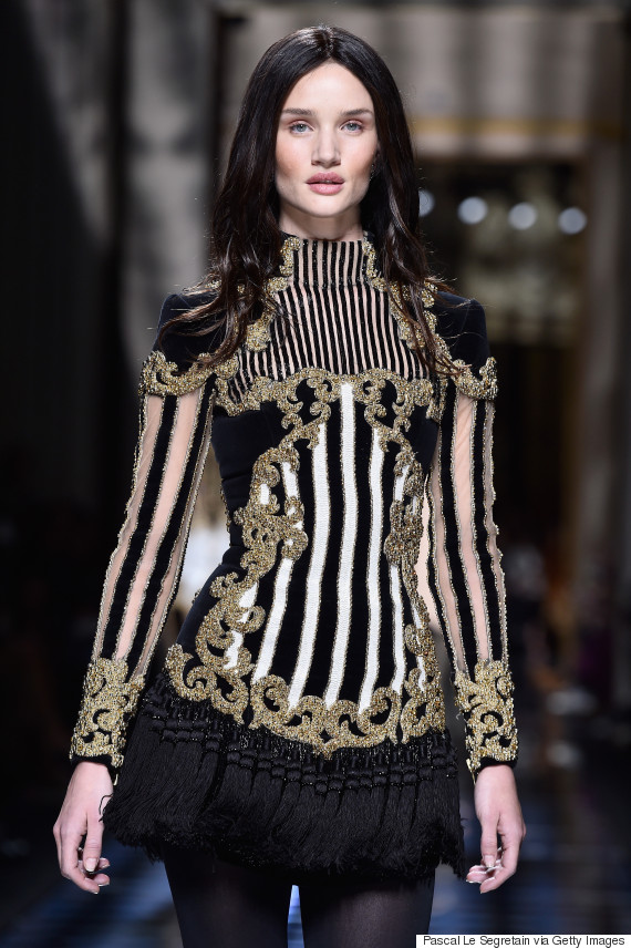 PARIS, FRANCE - MARCH 03: Rosie Huntington-Whiteley walks the runway during the Balmain show as part of the Paris Fashion Week Womenswear Fall/Winter 2016/2017 on March 3, 2016 in Paris, France. (Photo by Pascal Le Segretain/Getty Images)