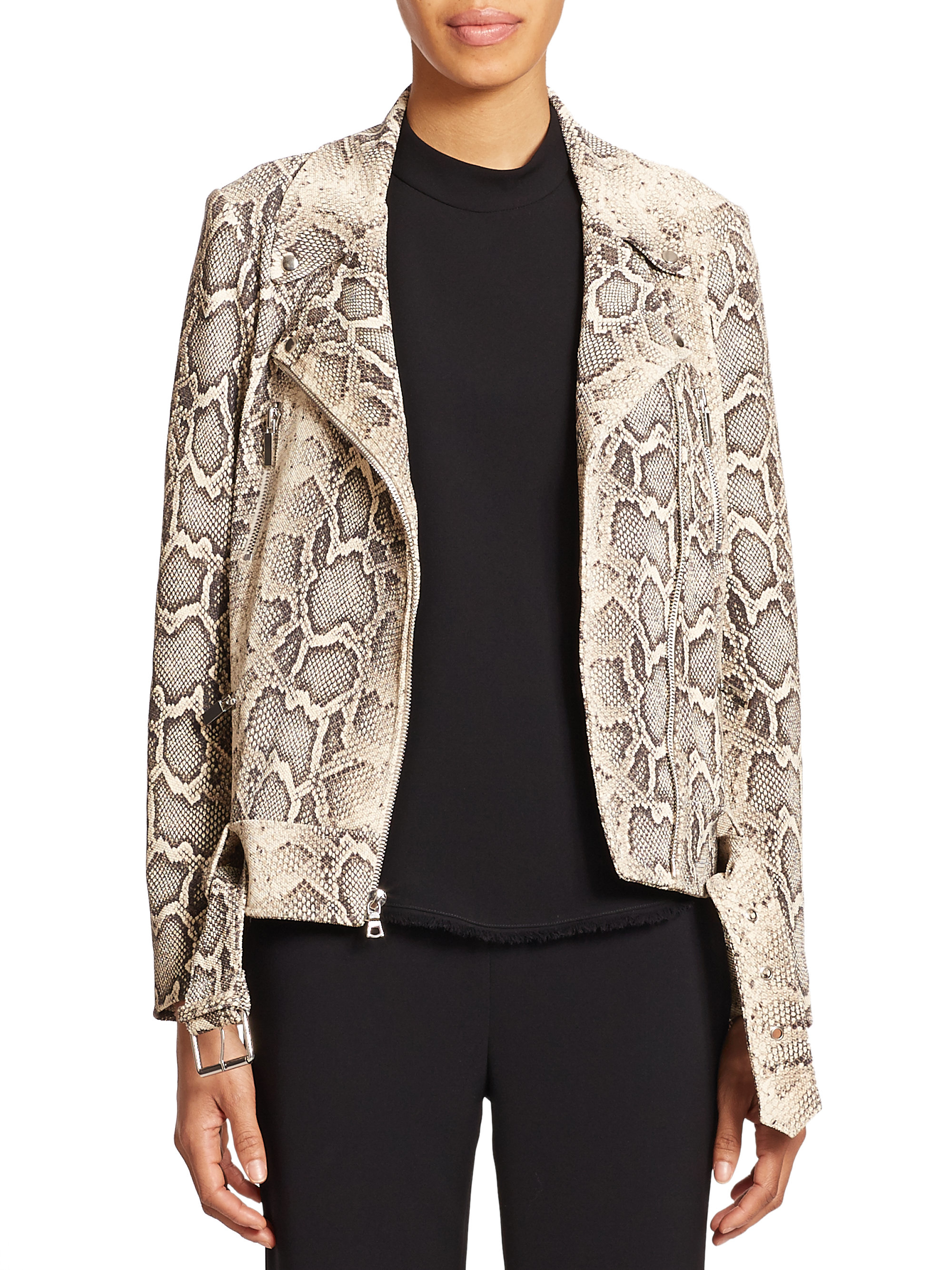 Elizabeth and James Corlyn Python-Print Leather Jacket