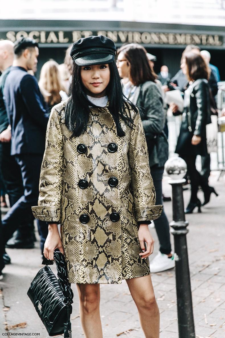 PFW-Paris_Fashion_Week-Spring_Summer_2016-Street_Style-Say_Cheese-Valentino_Spring_Summer_2016-Yoyo_Cao-Snake_Coat-Miu_Miu-Cap--790x1185