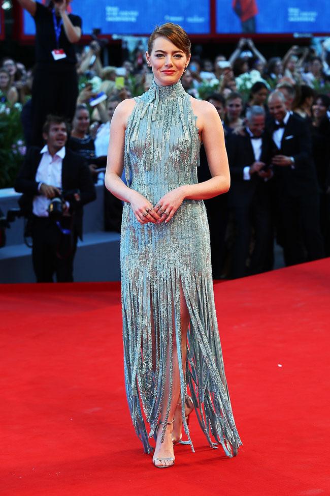 emmastone sparkly grey Versace gown