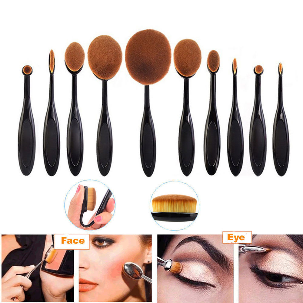 10X-Toothbrush-Pro-Oval-Makeup-Brushes-Set-Powder