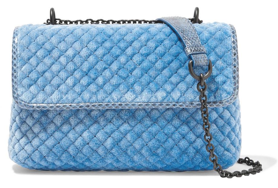 Bottega-Veneta-Olimpia-Velvet-and-Watersnake-Shoulder-Bag