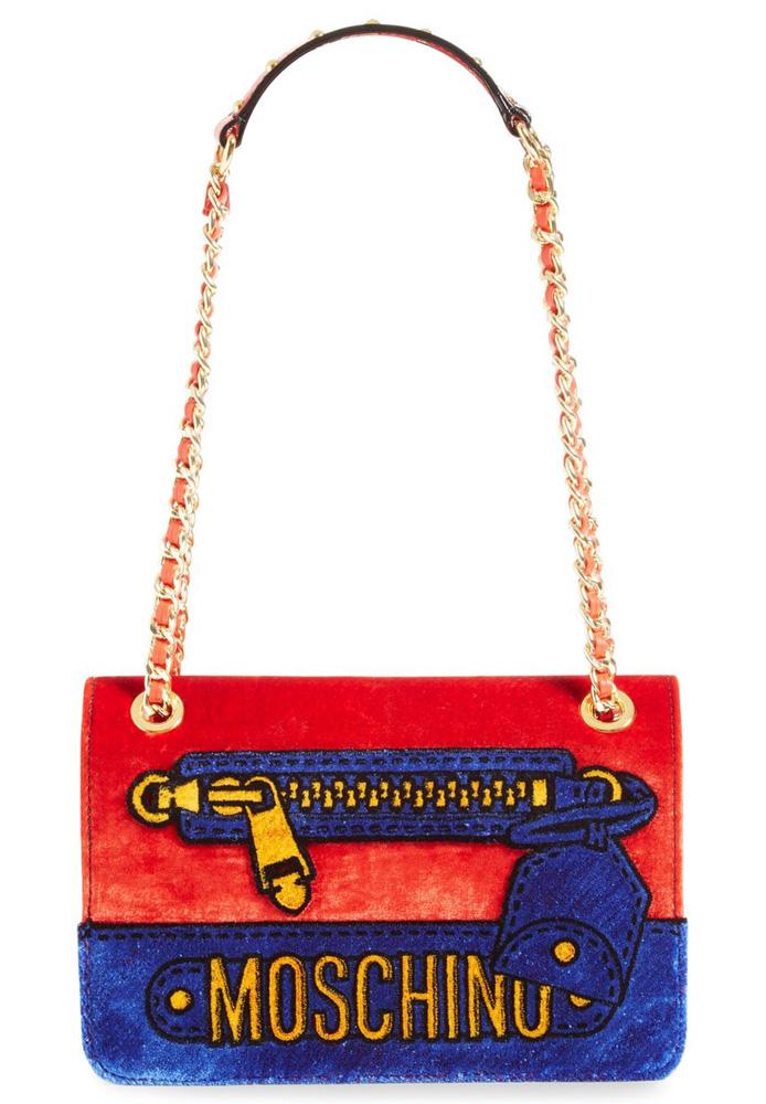 Moschino-Velvet-Convertible-Shoulder-Bag