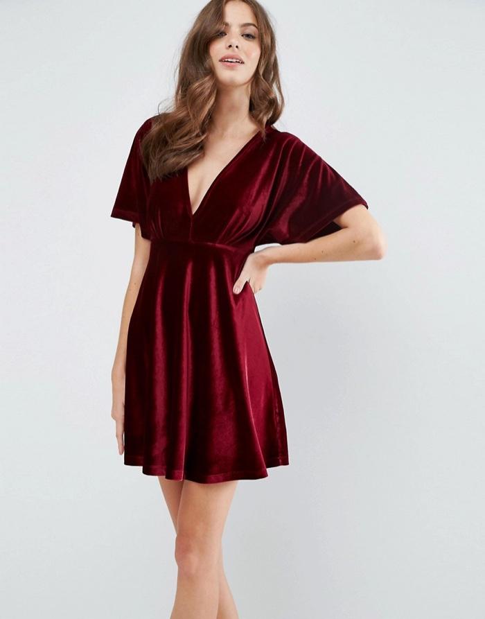 Velvet-Kimono-Plunge-Mini-Skater-Dress - ASOS